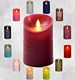 LED Echtwachskerze Kerze viele Farben mit Timer flackender Docht Wachskerze Kerzen Batterie, Größe:15 cm, Farbe:Weinrot