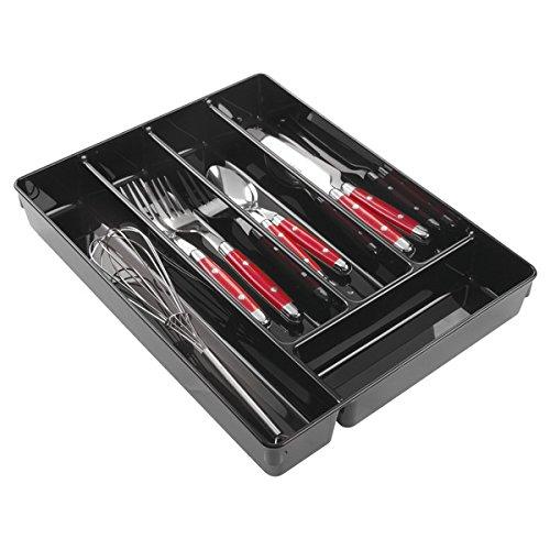 mDesign Besteckkasten - praktischer Schubladen-Organizer für die Küchenschublade - Besteckeinsatz für Küchenutensilien mit fünf Fächern - aus beständigem Kunststoff -schwarz