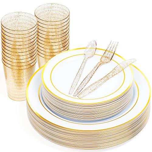 150 Einweg Party Geschirrset, 25 Gäste - Elegante Hartplastik Einwegteller mit Goldrand (25 Speiseteller & 25 Salat & Dessertteller), 25 Teelöffel, 25 Gabeln, 25 Messer, 25 10oz Becher (Gold Glitzer).