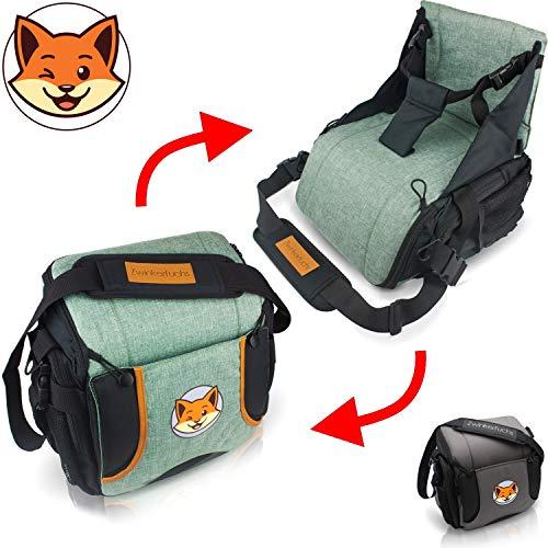 Boostersitz - Sitzerhöhung+Tasche vereint - Wickeltasche in Baby Reisesitz verwandeln (hellgrau)
