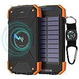 BLAVOR Wireless Powerbank, Solar Ladegerät 10000mAh Externer Akku LED-Licht Wasserdichtes Stoßsicheres Staubdichtes Energien-Bank für Mobiltelefon Ipad Wireless Kopfhörer