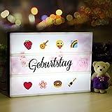 Lichtbox, Lightbox A4, led Leuchtkasten mit 98 buchstaben und 28 weiß Symbole 55 bunten emoji für Innenbeleuchtung Deko, stimmung beleuchtung, Nachtorientierungslicht, Party, USB und Batterie