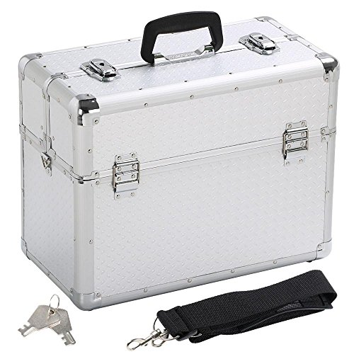 Yaheetech Alu Werkzeugkoffer Alu Koffer leer Transportkoffer Aufbewahrungskoffer Friseurkoffer Multikoffer, 43,5 x 22,5 x 34 cm
