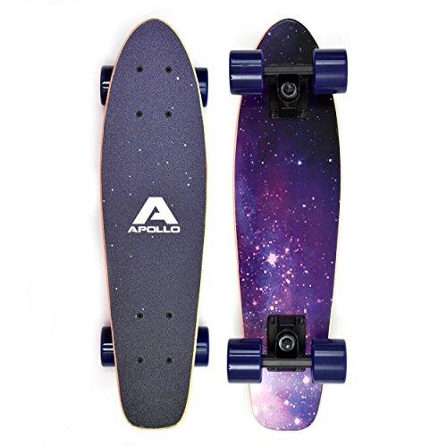 Apollo Wooden Fancy SkateBoard, Vintage Cruiser Komplettboard mit und ohne LED Wheels, Größe: 22.5'' (57,15 cm), Farbe: Sternenhimmel / Lila