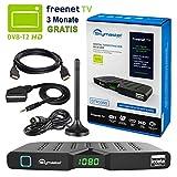 HB DIGITAL DVB-T/T2 Set: Skymaster DTR5000 DVB-T/T2 Receiver, kartenloses freenet TV Irdeto-Zugangssystem + Mini Stabantenne, passiv, mit Magnetfuß (Full HD, HEVC/H.265, HDTV, HDMI, USB DVBT2 DVB-T2)