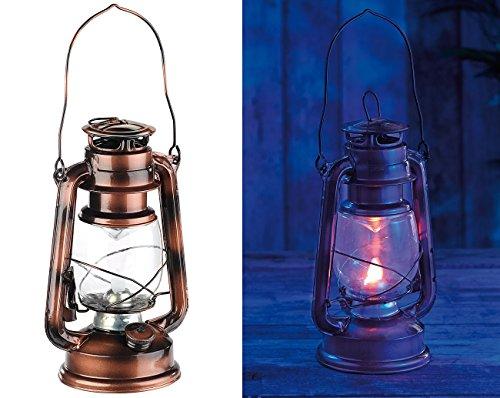 Lunartec Sturmlaterne: LED-Sturmleuchte im Öllampen-Design, Flammen-Imitation, bronzefarben (LED Sturmlampen)