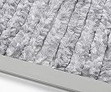 Beautex Gardinen Türvorhang Flauschvorhang Chenille 100x240 cm inkl. Tasche, Campingvorhang Insektenschutz, Farbe Wählbar (Grau/Weiß)