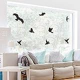 WandSticker4U- 21 VÖGEL zum Aufkleben in Schwarz | Vogelschutz für Fenster | Fensterbild Warnvogel Fensterschutz vor Vogelschlag Greifvogel Wandtattoo Fensteraufkleber Wand Aufkleber Sticker Deko
