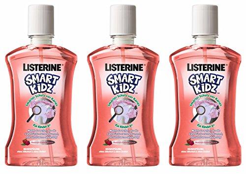 Listerine Smart Kidz Beere Mundspülung, für Kinder ab 6 Jahren, Mundspülung mit Beerengeschmack, 3er Pack (3 x 500 ml)