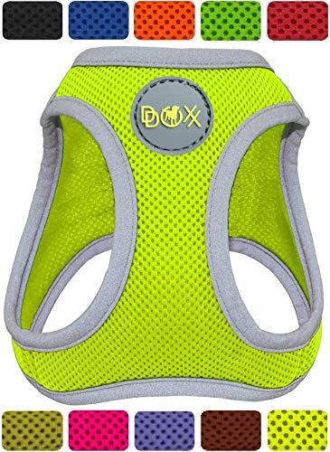 DDOXX Brustgeschirr Step-In Air Mesh reflektierend in vielen Farben & Größen für kleine, mittelgroße & große Hunde | Hundegeschirr klein groß verstellbar | Geschirr Hund Welpen Auto | Gelb, L