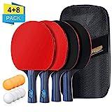 Tischtennis Set, 4 Tischtennisschläger und 8 Tischtennisbälle mit 2 Nylontasche, Tischtennis Schläger und Bälle Ping Pong Set ideal für Kinder Erwachsene Indoor Outdoor Aktivität