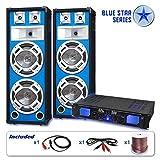 Blue Star Series PA Komplett-Set Bassveteran (2x Profi PA Boxen, 500W Endstufe, Kabelset, LED-Effekt)