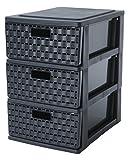 Sundis Schubladenbox'Country' in Rattan-Optik - Schubladenturm mit 3 Schubladen aus Kunststoff (PP) - (LxBxH) ca. 26 x 18.5 x 28.5 cm - Farbe schwarz - Sundis 1453608080
