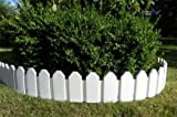 Schöner Zaun im Set Rasenkanten Beeteinfassung Palisade Beetumrandung Garten Rasen Zierzaun Gartenzaun weiß 2,36 m und Sichthöhe von 18 cm