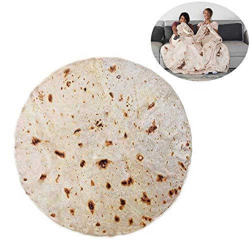 RAINBEAN Burrito-Tortilla-Decke, Runde Neuheits-Decke EIN Riesiger Menschlicher Burrito, Tortilla Throw, Food Creation Wrap, Weiches Plüsch-Riesentuch Für Erwachsene Und Kinder (5 Fuß Durchmesser)