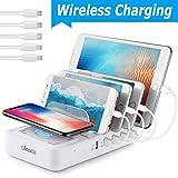 allcaca Wireless Charger Multi Ladestation 5 USB Ports Induktives Ladegerät Qi Ladestation Mehrere Geräte, 5 Kabel Inklusive Weiß
