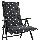 Hochlehner Auflage für Gartenstühle 120x50x8cm - Premium Stuhlauflage mit Komfortschaumkern und Bezug 100% Baumwolle - Sitzauflage Made in EU / ÖkoTex100, Design:Stern Anthrazit, Anzahl:6er Set
