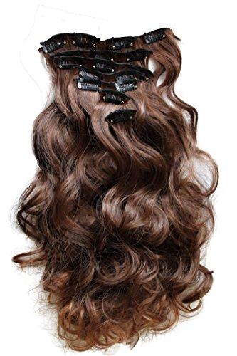 PRETTYSHOP XL 7 Teile Set Clip in Extensions 60cm Haarverlängerung Haarteil gewellt braun mix #4T30 CE9-1