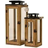 Dekovita Gartenlaterne 30cm/42cm Holz-Laterne inkl. Kordel Windlicht Kerzenhalter hitzebeständiges Temperglas