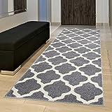 Tapiso MAROKO Läufer Teppich Brücke Flur Modern Geometrisch Marokkanisch Gitter Designer Muster Grau Creme ÖKOTEX 60 x 200 cm