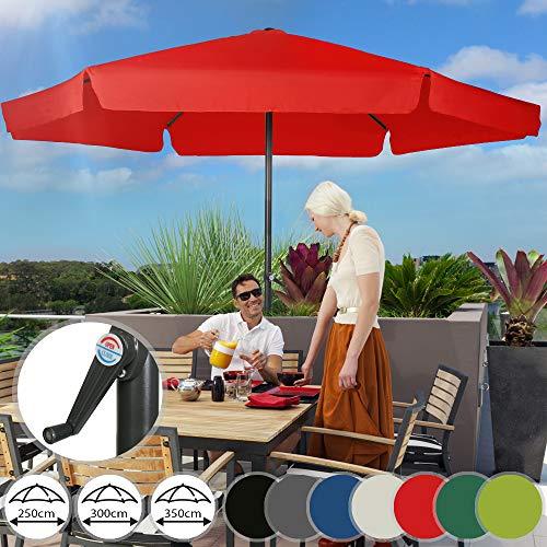 Sonnenschirm in Ø 2,5m / 3m / 3,5m | in Farbwahl, Wasserabweisender Schirmbezug,mit Krempe und Kurbel, aus Stahlrohr | Marktschirm, Gartenschirm, Terrassenschirm, Ampelschirm, Strandschirm, Sonnenschutz für Balkon, Garten, Terrasse (3m, Tomato)