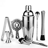 Yissvic Cocktailshaker Set 9Pcs Cocktail Mixer Professionelles Edelstahl Cocktailset Cocktail Shaker 750ml