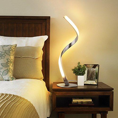 Albrillo Spiral LED Tischlampe aus Aluminium, moderne 6W Schreibtischlampe warmweiß mit 1.5 m Kabel Perfekt für Schlafzimmer Wohnzimmer