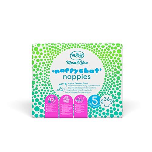 Mum & You Nappychat Öko-Windeln, Größe 5, 3 Packung (108 Windeln) mit Smart-Tube-Technologie für Extra-Auslaufschutz. Hypoallergen, dermatologisch getestet und ohne Lotion, Kleber und Farbstoffe.