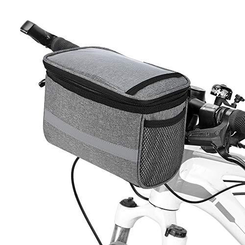 Lixada Radfahren Fahrrad Isolierte Vordertasche MTB Fahrrad Lenkertasche Korb Pannier Kühltasche mit Reflektorstreifen