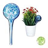 Relaxdays Bewässerungskugel 2er Set, dosierte Bewässerung Pflanzen u. Blumen, Gießhilfe Büro, Urlaub, Ø 6 cm, Glas, bunt
