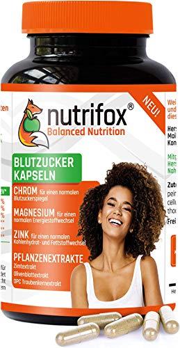 NUTRIFOX Blutzucker Kapseln mit Mineralien (Chrom, Zink, Magnesium) und pflanzlichen Extrakten (Ceylon-Zimt, OPC, Olivenblattextrakt) - Premium, 120 Stoffwechsel Kapseln, vegan