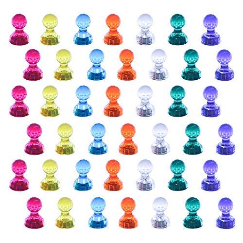 42 Stück Kühlschrankmagnete Whiteboard Magnete Starke magnetische Push Pins für Schreibtafel Schwarzes Brett Kühlschrank Karte sortierte Farbe (42)