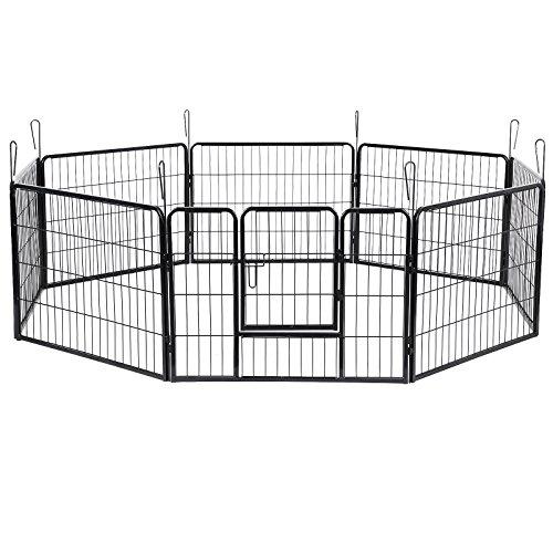 SONGMICS Welpenfreigehege 80 x 100 cm Hundegehege Laufstall Zaun Gitter Welpen Hasen Kaninchen PPK86G