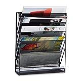Relaxdays Zeitschriftenhalter Wand, Prospekthalter A4, Zeitschriften Wandhalter, Metall, HxBxT: 40 x 32 x 10 cm, schwarz