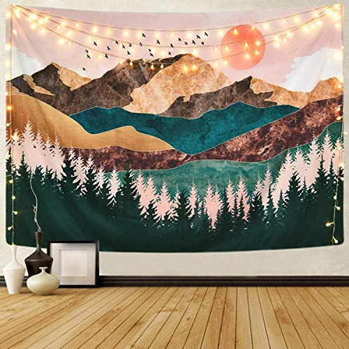 Mazheny Mountain Wandteppich Wald Baum Wandteppich Sonnenuntergang Natur Landschaft Wandteppich Wandteppich Wandteppich für Raumdekoration, Mountain Tree, 59.1' x 82.7'
