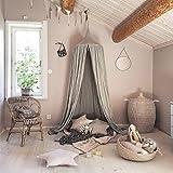 Baby Betthimmel Baldachin Baumwolle Rund Moskitonetz Insektenschutz Kinder Prinzessin Spielzelte Dekoration fürs Kinderzimmer (Grau)