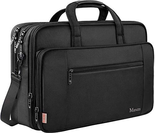 MANCRO 17 Zoll Laptop Tasche, Business Aktentasche große Umhängetasche Wasser Resisatant Multi-funktionale erweiterbare Computer Schultertaschen MEHRWEG