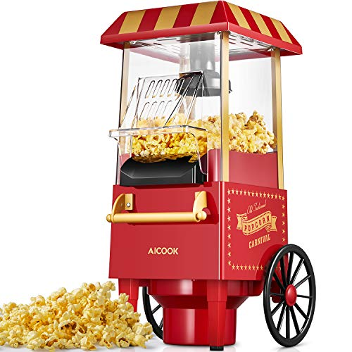 Popcornmaschine, Aicook 1200W Retro Popcorn Maker mit Heissluft, Ohne Fett Fettfrei Ölfrei, Eine-Taste-Operation, Rot