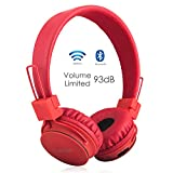 Drahtlos Bluetooth Kopfhörer für Kinder,Termichy Wireless/Wired Faltbare Tragbare kopfhoerer mit Frei Abnehmbarem Kabel, 93db Lautstärkenbeschränkung, On Ear Stereo Headphone mit Shareport(Blau)
