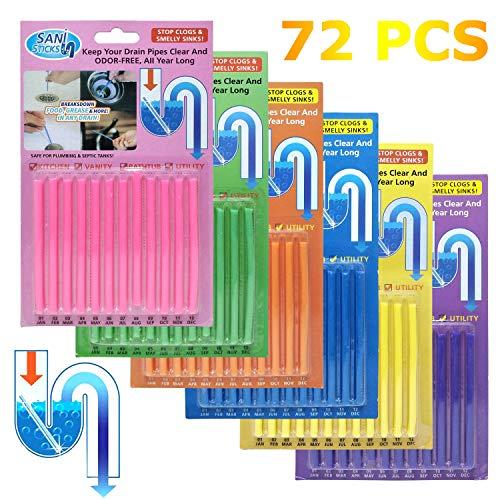 Flying swallow Sani Sticks Drain Cleaning Sticks Rohrreinigungsstab für Badewanne Pipeline WC-Reiniger 72 Stück