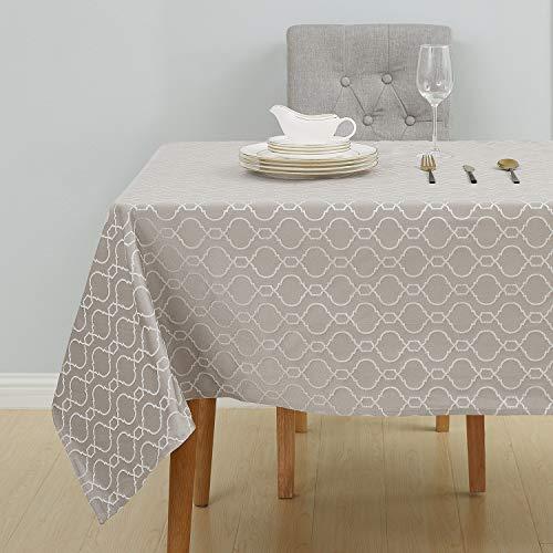 Deconovo Lotuseffekt Tischtücher Wasserabweisend Tischwäsche 140x300 cm Taupe