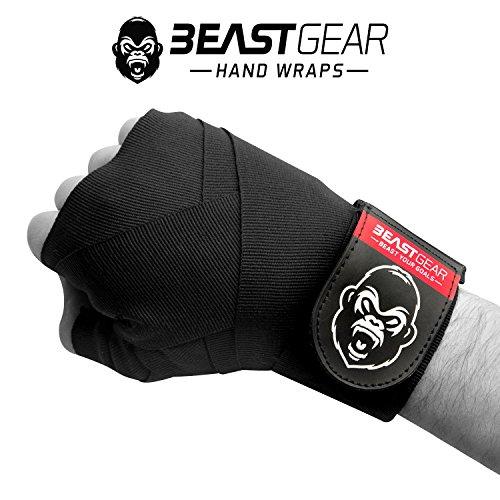 Beast Gear Profi Boxbandagen - Premium Qualität Handbandagen für Kampfsport, MMA und Martial Arts  4.5 Meter Elastische Bandagen