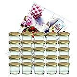 MamboCat 25er Set Sturzglas 125 ml Marmeladenglas Einmachglas Einweckglas to 66 Goldener Deckel Incl. Diamant-Zucker Gelierzauber Rezeptheft