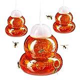 Relaxdays Wespenfalle 3er Set, Lebendfalle Wespen, ohne Lockstoff, zum Hinhängen & Hinstellen, Wespenfänger, orange