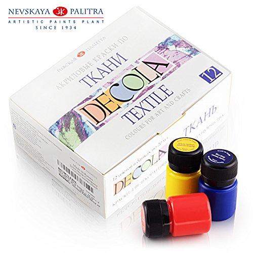 Hochwertiges Textilfarbe Set   12 x 20ml   Stoffmalfarben waschfest   von Nevskaya Palitra