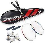 Senston Graphit Badminton Set Carbon Badmintonschläger Badminton Schläger Perfect Badminton Schlaeger Set mit Schlägertasche - 2 Farbe