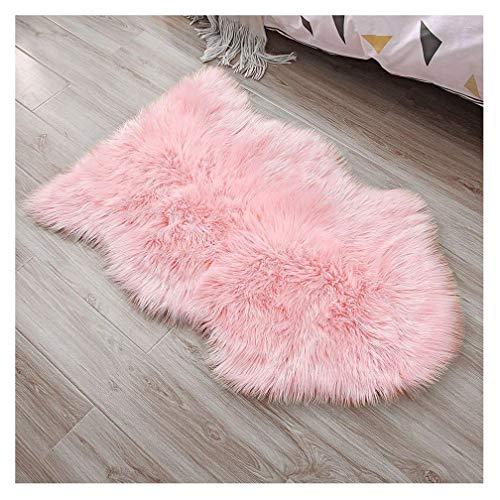 JSM Faux Lammfell Schaffell Teppich (60 x 90cm) Lange Haare Flauschig Lammfellimitat Teppich kunstfell Fell Bettvorleger Wohnzimmer Nachahmung Wolle Sofa Matte (Rosa)