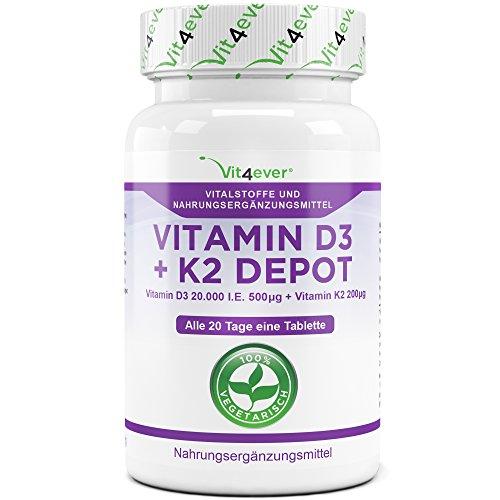 Vitamin D3 20.000 I.E + Vitamin K2 200mcg Menaquinon MK7 Depot - 180 Tabletten - 20 Tagesdosis 1000 I.E. D3 pro Tag - Alle 20 Tage eine Tablette, Vegetarische Tabletten, Vit4ever