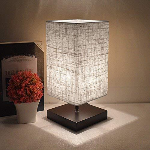 Tischlampe aus Holz, Nachttischlampe Vintage, Stehlampe Modern auf Tisch, E27-Fassung & EU-Stecker Warmweiß für Wohnzimmer, Kinderzimmer, Schlafzimmer, Esszimmer Eckig Dunkelgrau