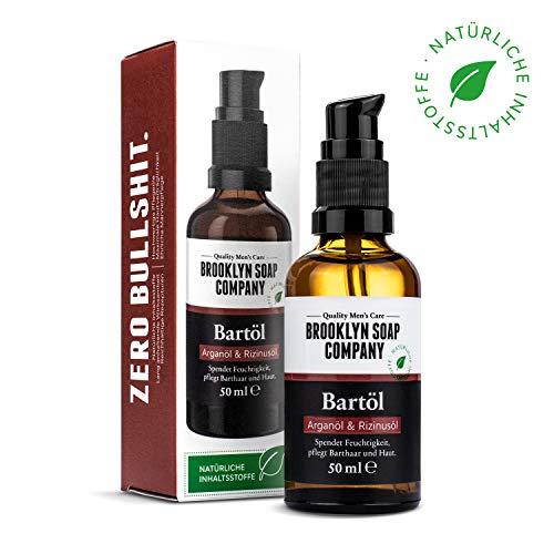 Natürliche Bartpflege: Beard Oil Bartöl (50 ml)  Naturkosmetik der BROOKLYN SOAP COMPANY Geschenkidee als Geschenk für Männer - Bartstyling für 3-Tage-Bart, Vollbart  weicherer Bart, weniger Jucken